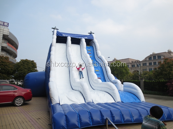 wave design cloud inflatable double lane slip slide