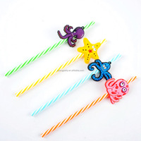 9.05 inch /23cm Decorative Fish Reusable Striped Hard Plastic Drinking Straw