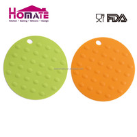 Promotional hot sale kitchen use round shaped silicone hot pad mat
