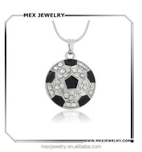 Top quality Zinc Alloy Sports Black Enameling Clear Crystal Soccer Ball Pendant world cup Necklace
