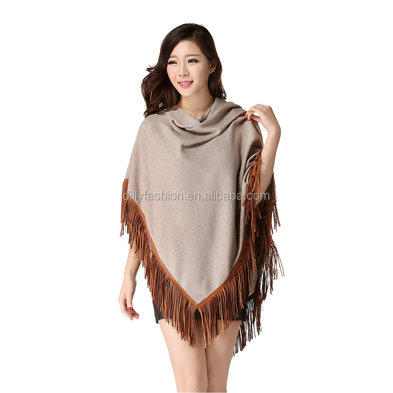 Ladies European style winter camel triangle tassel knitted ponchos and shawls