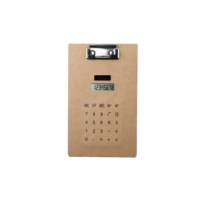 Promotion 8 Digit Displayed Clip Board Super Thin Calculator