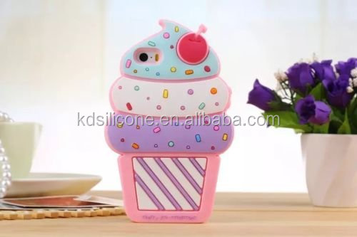 Cute 3D Cherry Ice Cream Silicone Soft Case Bumper Back Cover For iPhone 5c