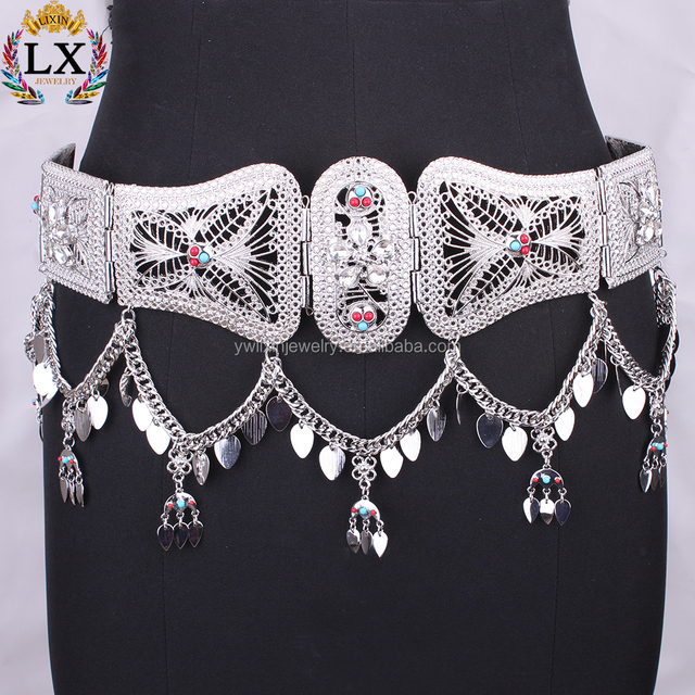 WLX-00014 fashion turquoise custom silver crystal flower alloy waist chain body jewellery for sexy girl