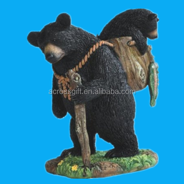 hot sale lovely black bear shape Poly resin figurine statues