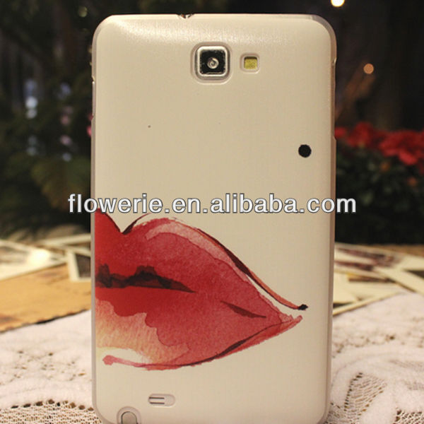 FL2462 2013 Guangzhou hot selling matting red lip case for samsung galaxy note2 n7100