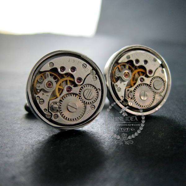 18mm vintage style steam punk watch movement core rhodium,metal gun black fashion cuff links 6600066