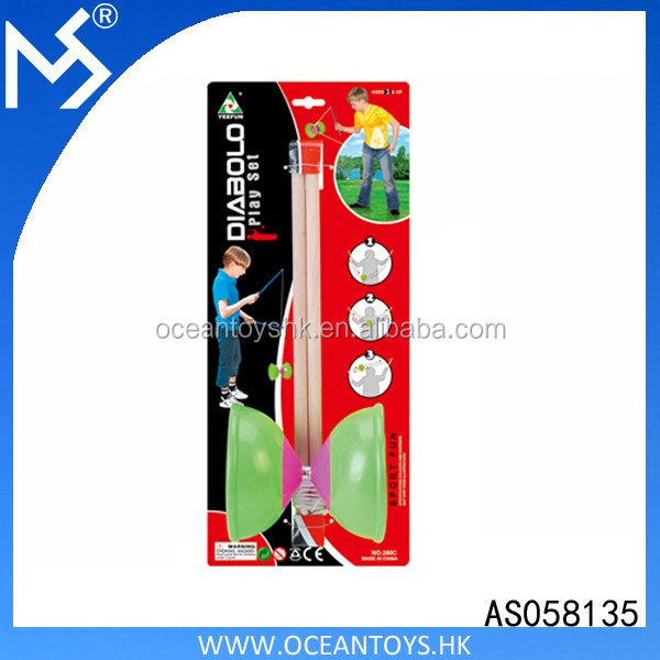 Plastic Diabolo Yoyo With Wooden Sticks Spin Toy