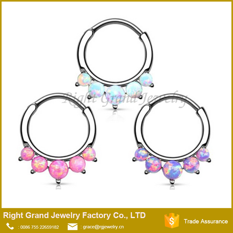 5 Paved Opal Jeweled Surgical Steel 16g Pierced Nose Ring