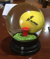 10cm crystal ball customized golf water promotion ball gift with wood base