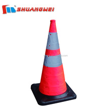 Portable Reflecting Fabric+Rubber 450mm Traffic Collapsible Cone