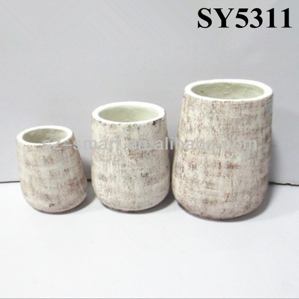 Oval small top diameter cement garden clay pot wholesale