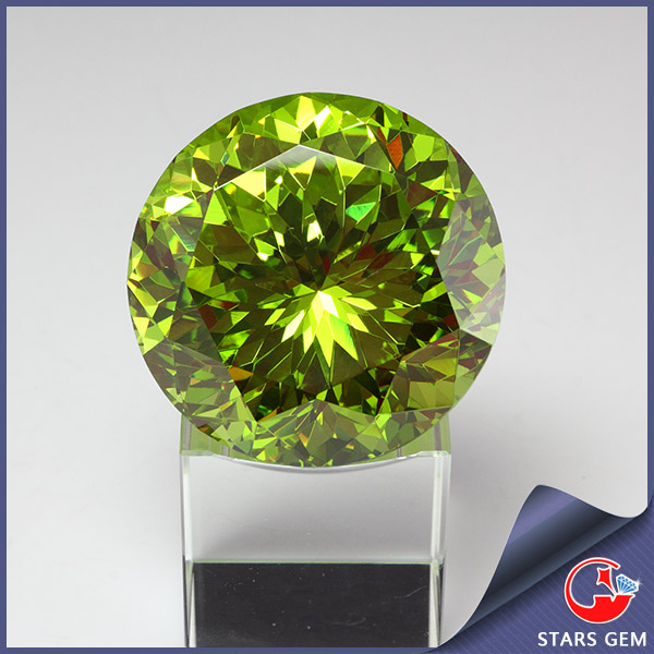 wholesale apple green big size cubic zirocnia decorative gemstones for home