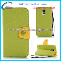2014 factory slim book stand PU leather smart phone case for samsung galaxy S5