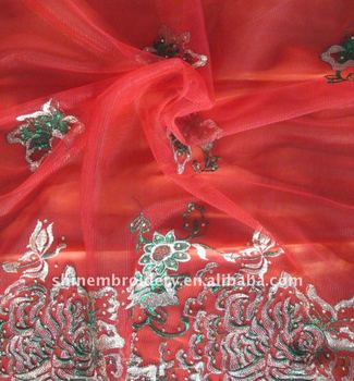 fancy metallic machine embroidery tulle fabric with stones for dresses