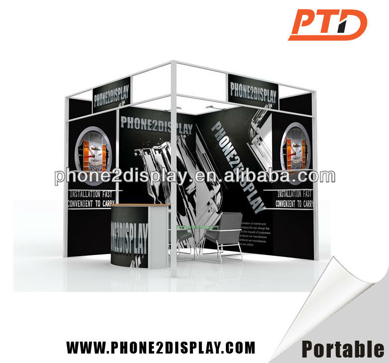 Aluminum and fabric exhibit display booth,Shelves available and TV monitor is acceptable. Light weight but durable to store and