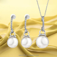 Platinum plated earrings pearl jewelry
