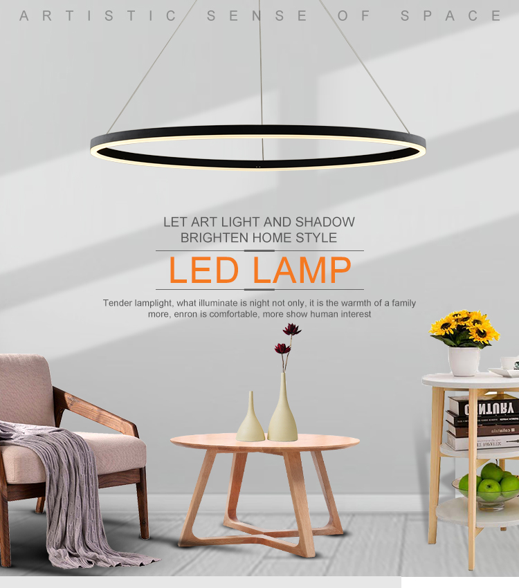 Nordic Modern Style Indoor Custom Classic Chandelier Modern Indoor 30W Black Metal Round Ring Shape  Acrylic LED Pendant lamp