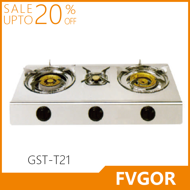 GST-T21table top 3 burner gas stove stainless steel gas hob brass gas cooktop