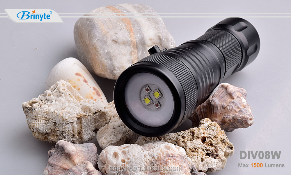 Brinyte DIV08W 1500 Lumens Dual Color Underwater Video Photography Diving LED Flashlight DIV08W