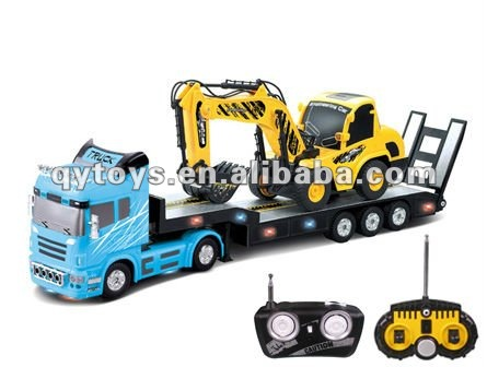 1:32 6 Channels RC Heavy Trailer with 1:20 6 Channels RC Construction Excavator Truck RC Tow Truck