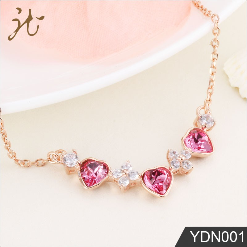Rose Gold Austrian Crystal 925 Sterling Silver Pendant for Women