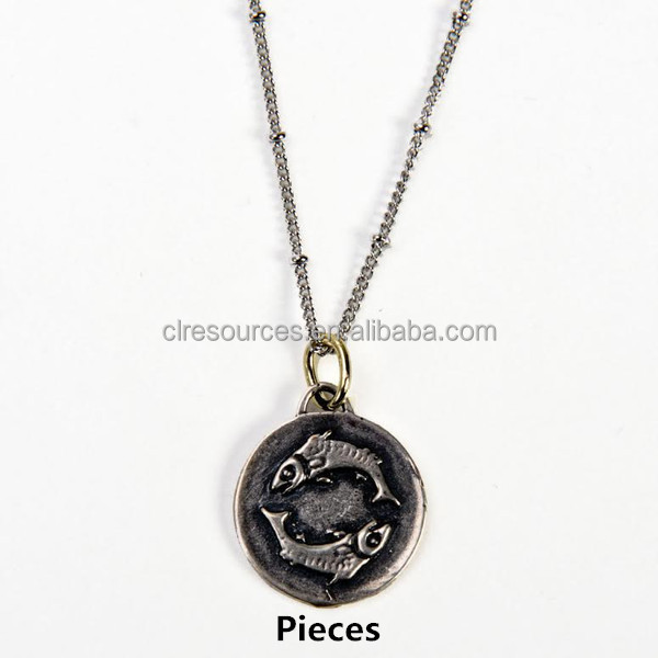 Promotional cheap the Zodiac pendant on delicate chain with antique silver plated necklaces