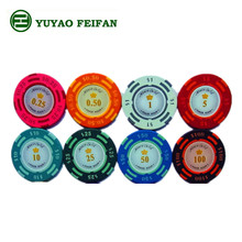 clay casino european poker chips with numbers sticker