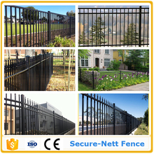 3 Foot Tall Classic Style Wrought Iron Fence Mounted on a Brick Wall Secure-Nett fence