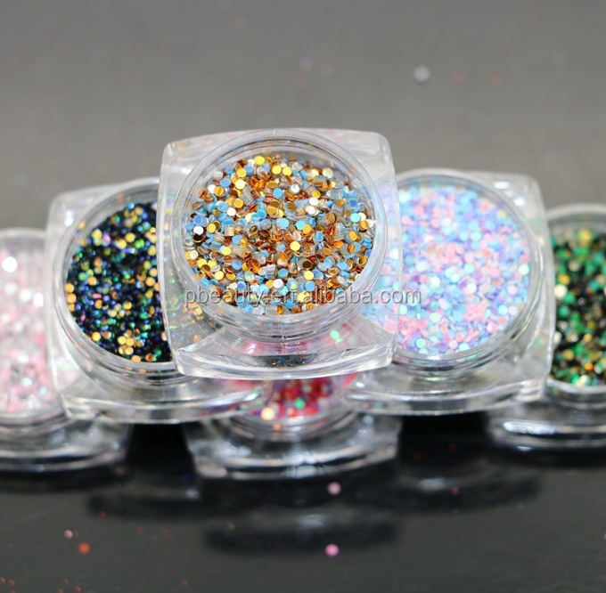 2017 GSP-39 New types 6/set glitter $ customized package holographic nail glitter powder pet