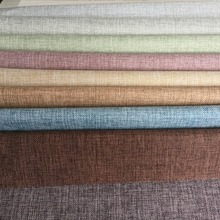 In stock China supplier Home textile 3 pass100% polyester linen look blackout curtain fabric