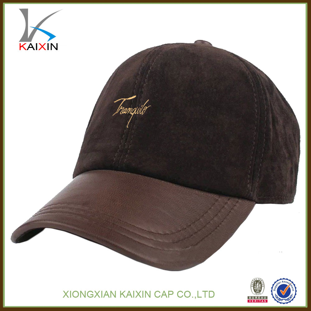 custom made tan brown plain suede baseball cap with leather brim