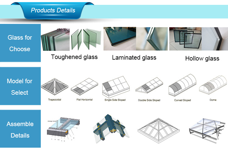 Flat Roof Skylight Glass/Glass Roof/ Glass Canopy Supplier 1773