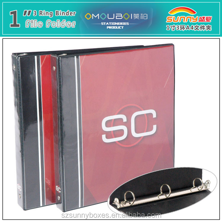 "Custom Color Printing PVC Fancy Folder 1"" Ring Binder With Press Trigger"