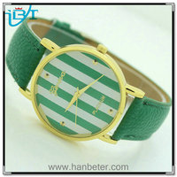 2014 Hotselling Geneva Platinum Round Ladies Stripes Leather Band Colorful and Environmental