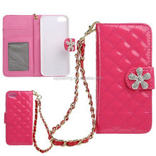 Hot pink wallet case pouch bag for iphone 5S, Diamond case with stand for iphone 5