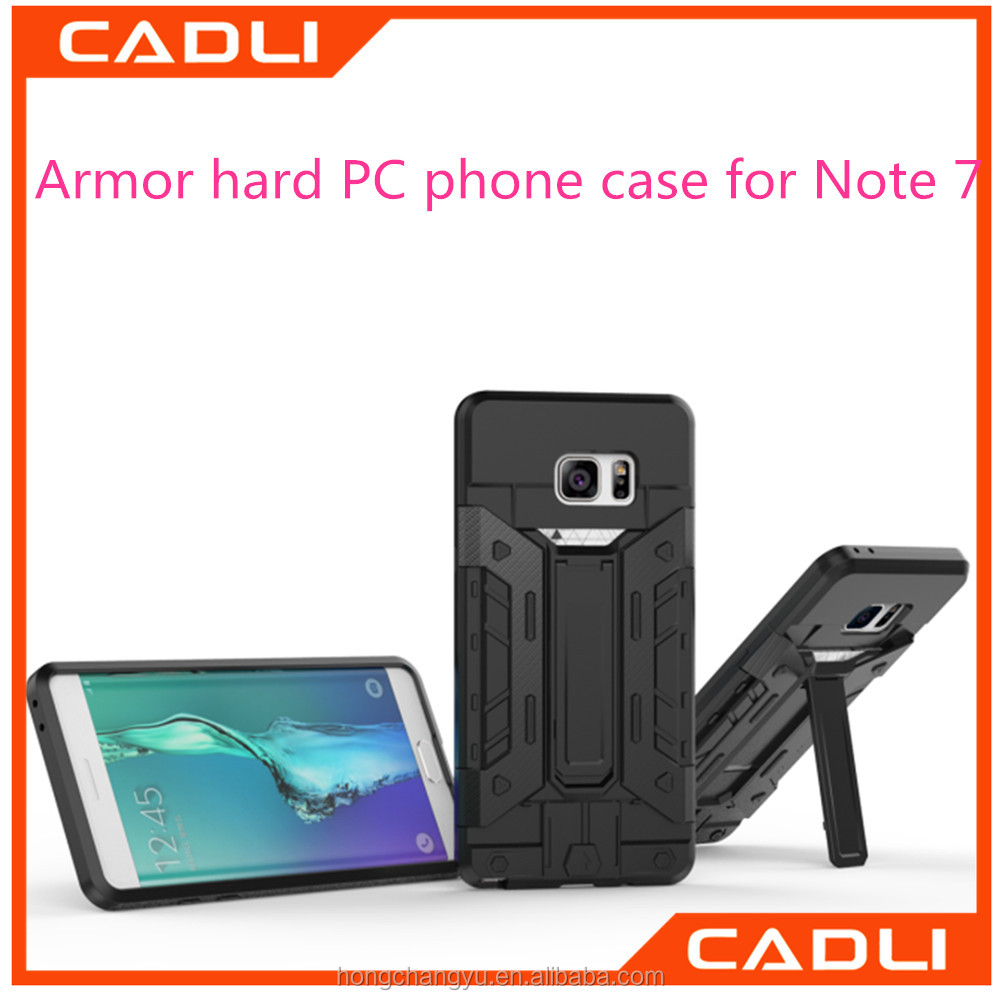 High Quality Fashion Insert Card Phone Cases Cover Plastic + TPU Hybrid Bracket Armor Case For Samsung Galaxy Note7