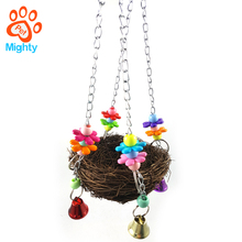 Natural Rattan Nest Bird Swing Toy bird cage for Parrot Budgies Parakeet Cockatiels Conure Lovebird Finch