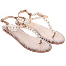 SC1004 2014 New Korean Women Leather Pearl Hollow Sandals Flat Bow Shoes