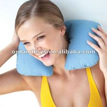 u shape inflatable neck pillow light blue