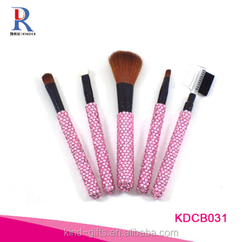 pink 5pcs cute makeup brush, beauty lady girl elegant makeup brush set