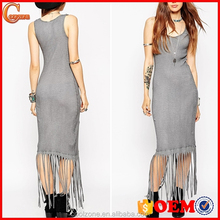Fashion scoop neck bodycon fit evening dress,women fashion evening dress with fringe 2016