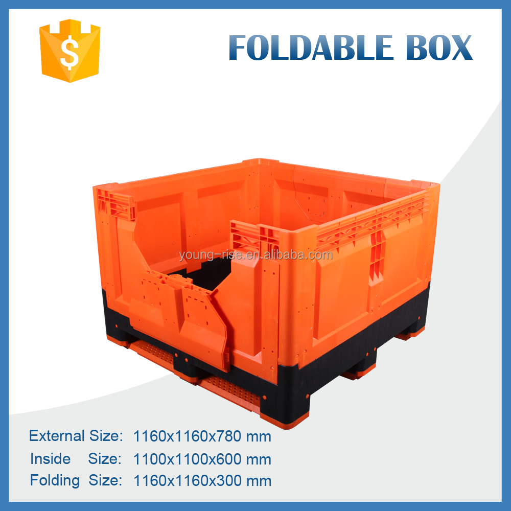 Attractive colour foldable bulk crates collapsible plastic vegetable fruit packaging box for sale