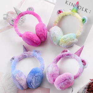 Winter Cute Unicorn Earmuff 1-5-year-old Baby Ear Sleeve Cartoon Gradient Plush Warm Earmuffs