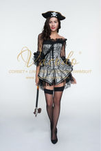 #9122 Razzle Dazzle Satin Lace Pirate Dark Queen Corset Costume Wholesale Support
