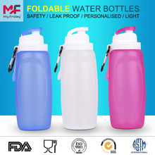 2016 New items good quality custom logo rollable sport silicone plastic bottle
