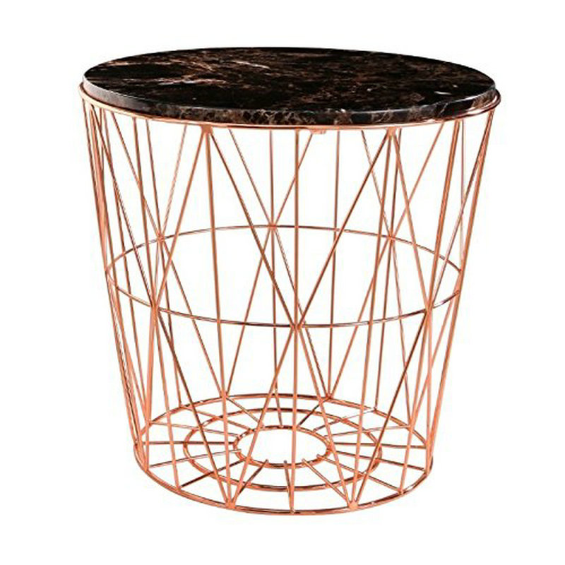Meticulously designed Stain brass round modern side table furniture with storage
