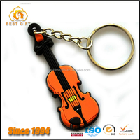 Factory price violin shape soft pvc keychain