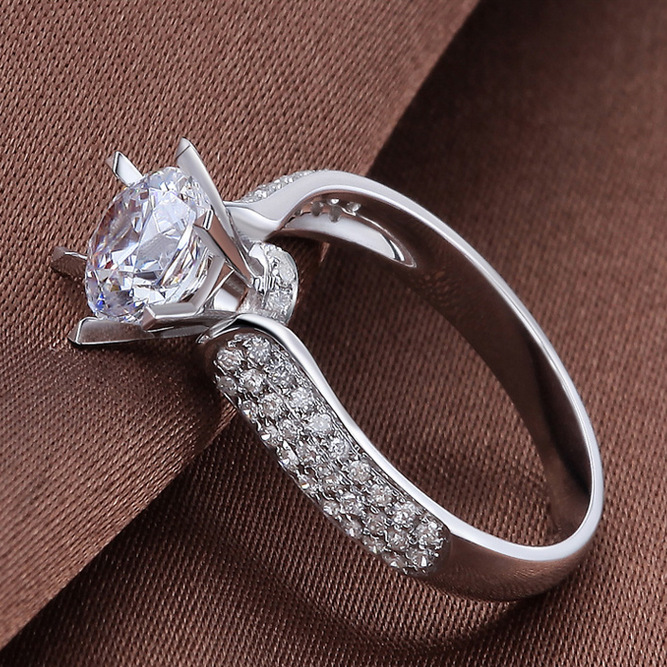 NEW Copper diamond ring for women,wholesale cheap wedding ring