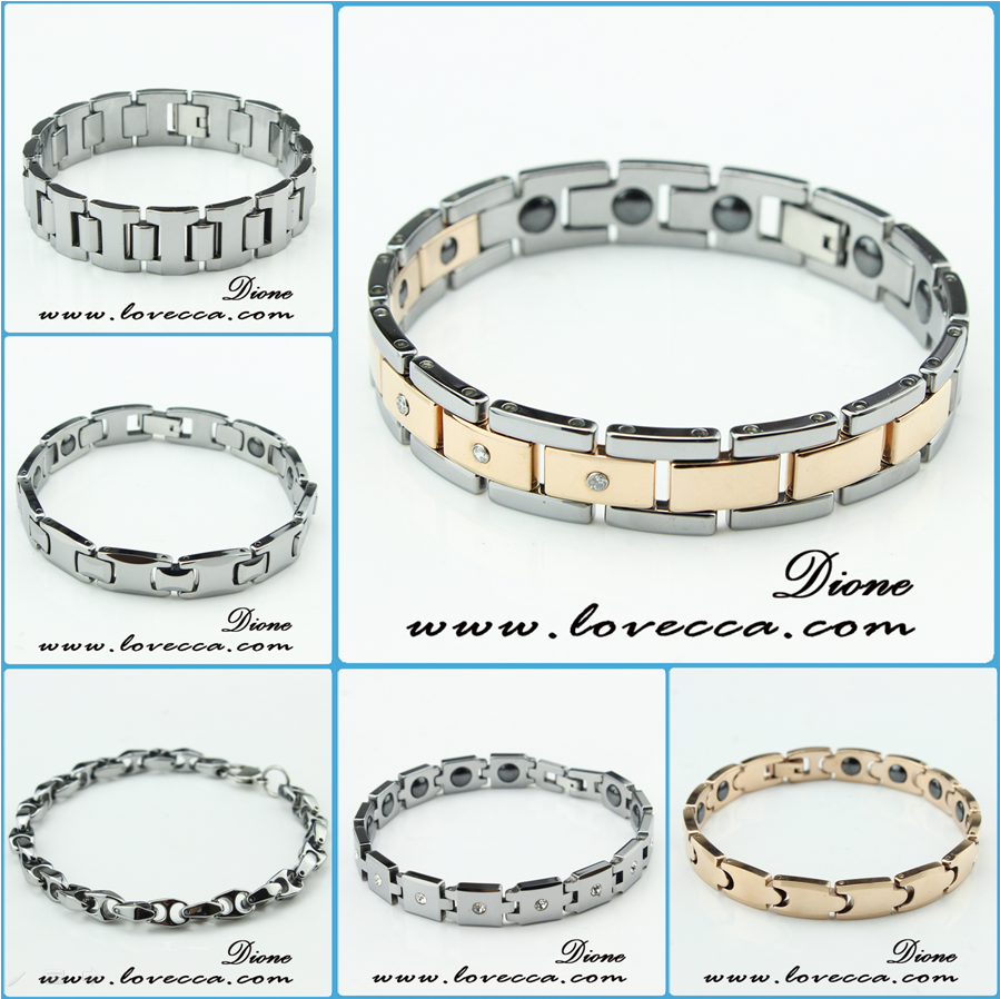 Magnet Energy Euramerican Jewelry Tungsten Steel Bracelet Inlaid Colored Silicone/Metal